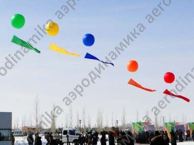Colored balloons with flags