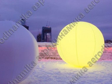 Inflatable spheres with inner backlight as outdoor city decoration