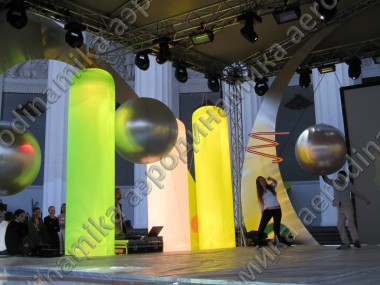 Stage decorated with Inflatables