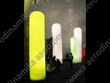 Exhibition decorated with inflatable backlit columns