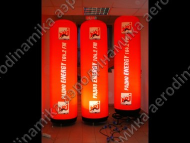 ENERGY radio Ad inflatable columns with inner backlight