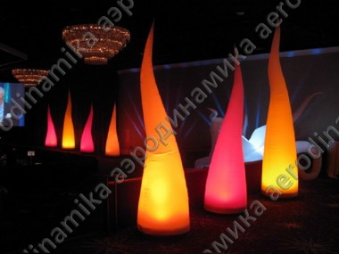 Curved inflatable cones with inner backlight