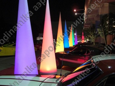 Colored inflatable cones with inner backlight as exhibition decoration