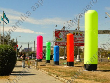 Street decorated with colored inflatable columns