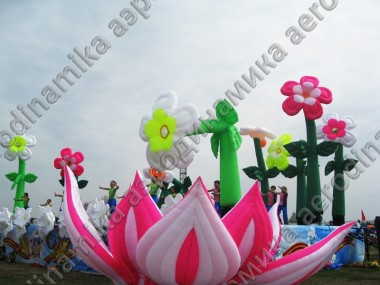 Stage decorated with inflatable dancing flowers