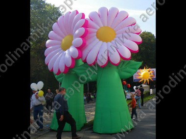 Park decorated with inflatable flowers
