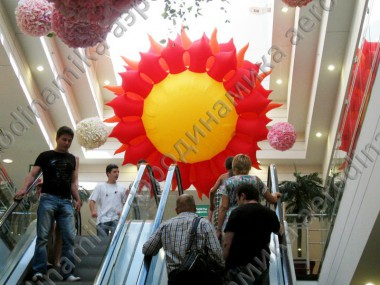 Inflatable sun as a mall decoration