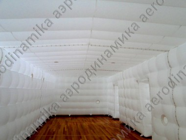 Interior of inflatable cube tent