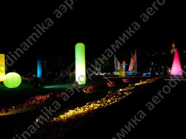 Inflatables with inner backlight as outdoor city decoration