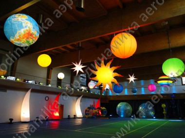 Inflatable cones, spheres, stars and planets with inner backlight as gym décor