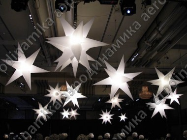 Hanged inflatable stars with inner backlight