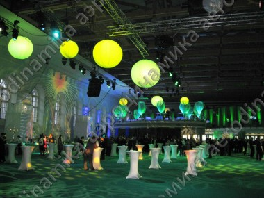 Inflatable hanged spheres with inner backlight as interior decor