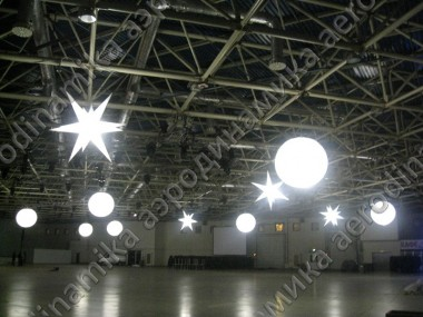 Hanged Inflatables with inner backlight as exhibition hall decor