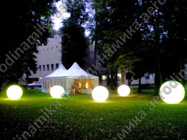 Inflatable spheres with inner backlight as outdoor decoration