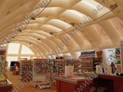 Pneumatic framed hangar as a souvenir shop