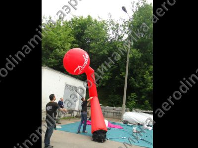 Inflatable dancing tube with Danfoss ball on the top