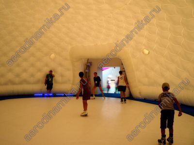 15 meters diameter inflatable dome as an ice-rink covering