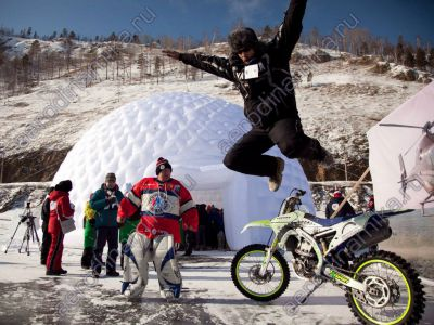 Inflatable dome for hockey match at Baikal lake