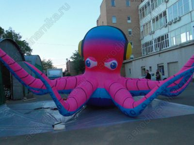 Inflatable octopus with headphones