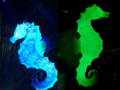 Inflatable seahorses with inner backlight