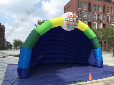 Inflatable stage cover with additional element
