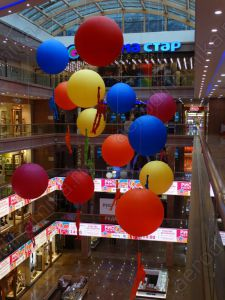 Mall decorated with colored inflatable balls