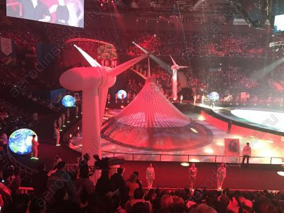 Inflatable Khan Shatyr and wind turbines at Universiade 2017 grand opening