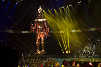 Inflatable golden warrior at Almaty's 1000 anniversary celebration
