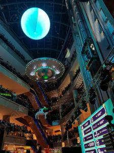 Hanged inflatable UFO as a mall decoration