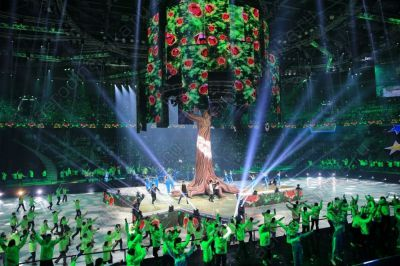 Inflatable tree at Almaty Universiade 2017 closing ceremony