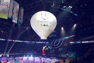 Hot air balloon shaped aerostat at Winter Universiade closing ceremony