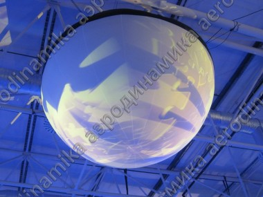 Inflatable top-hanged semisphere screen