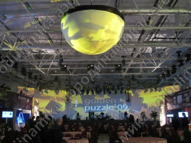 Inflatable semisphere screen as event decoration