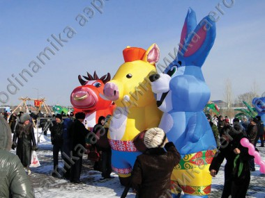 Inflatable animal costumes for Maslenitsa