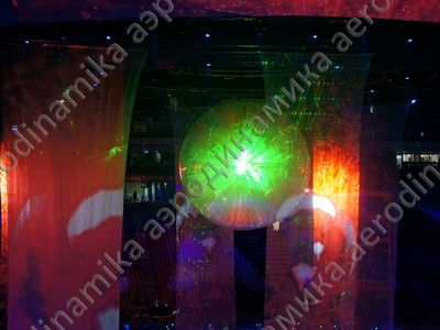 A laser projection system is inside the ball