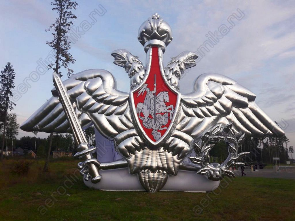 An inflatable double-headed eagle – the coat of arms of Russian Ministry of Defence