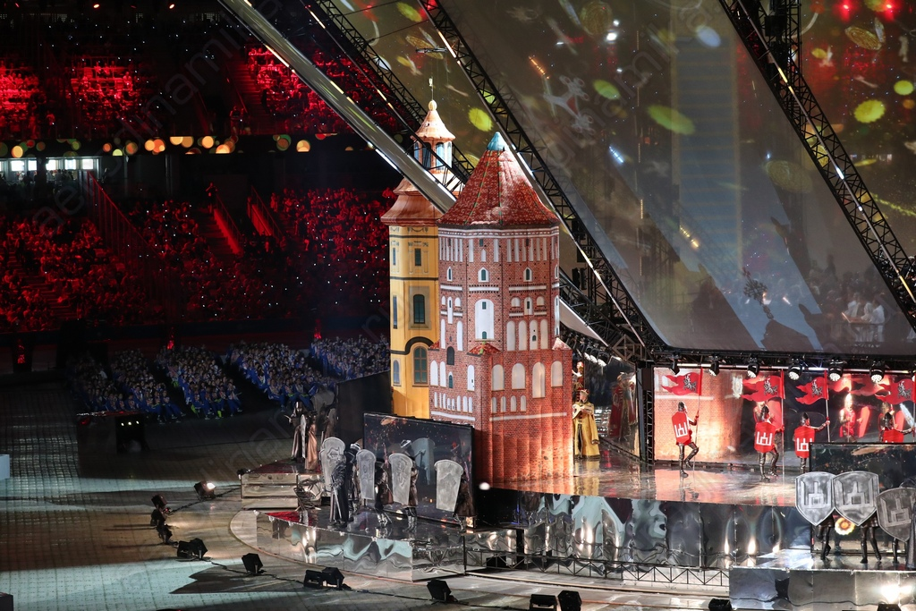 Inflatable towers on the opening ceremony